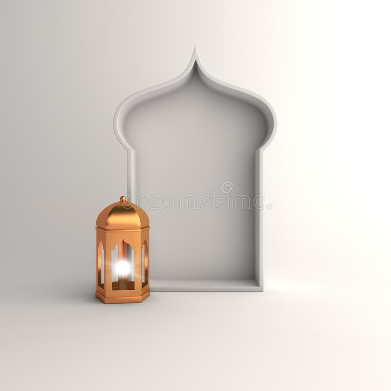 Gold lantern and,arabic window on white background copy space text. Design creative concept of islamic celebration day ramadan kareem or eid al fitr adha, hajj royalty free illustration