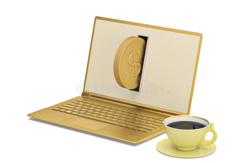 Gold laptop and gold coffee on white background.3D illustration. stock illustration