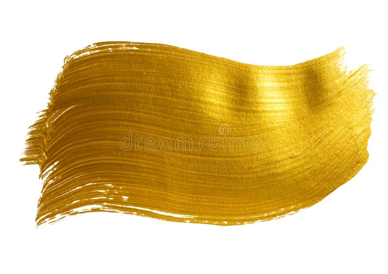 Gold large acrylic brush stroke royalty free stock photo