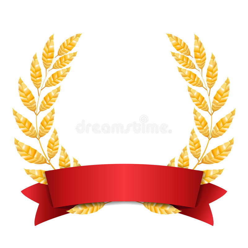 Gold Laurel Vector. Set Shine Wreath Award Design. Red Ribbon. Place For Text royalty free illustration