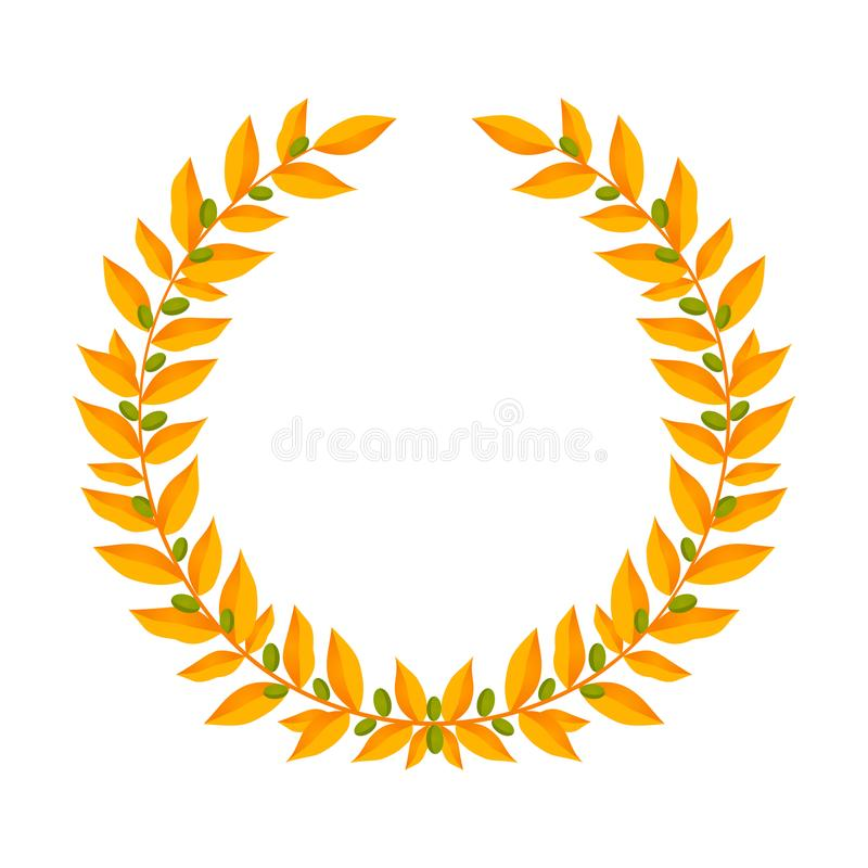 Gold laurel wreath. Vintage wreaths heraldic design elements with floral frames made up of laurel branches with green stock illustration
