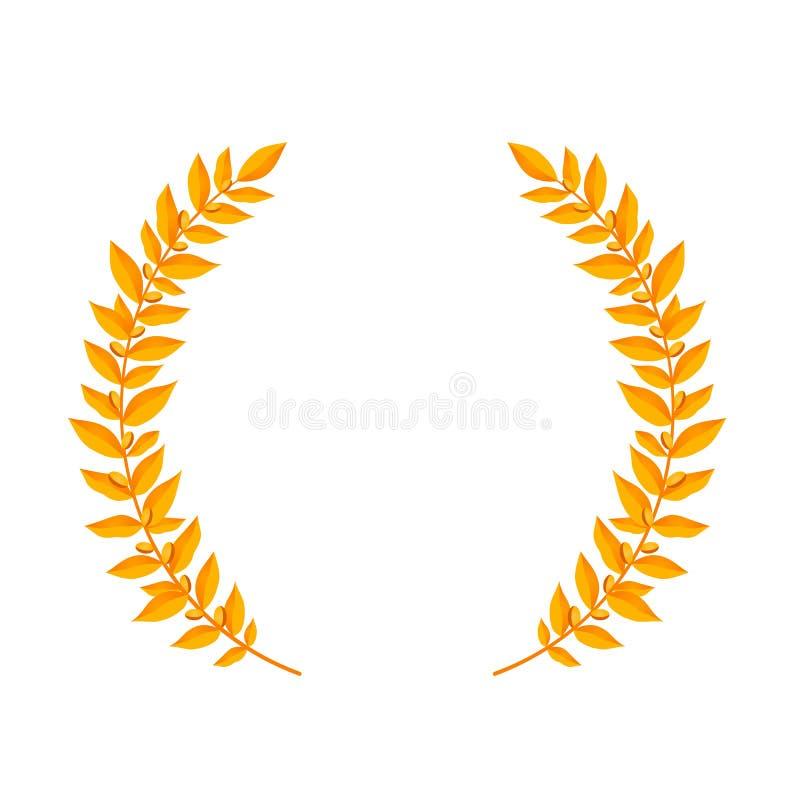 Gold laurel wreath. Vintage wreaths heraldic design elements with floral frames made up of laurel branches on white vector illustration