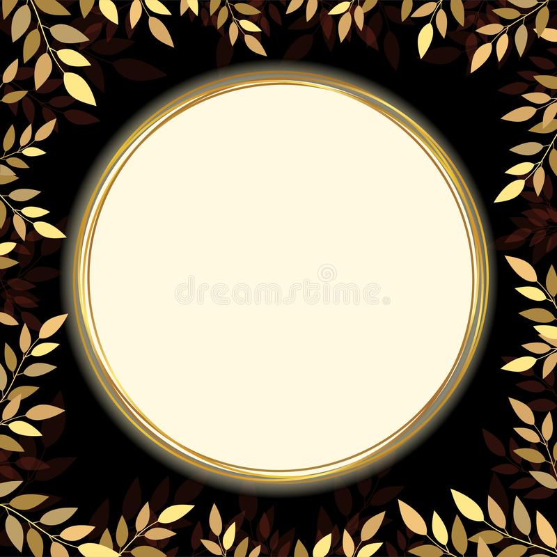 Gold leaf banner with copy space on black background stock illustration