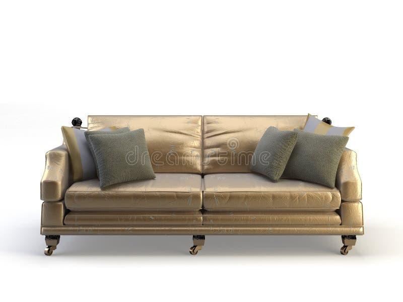 Download Gold Leather 3d Sofa Stock Illustration. Illustration Of Divan    11002797