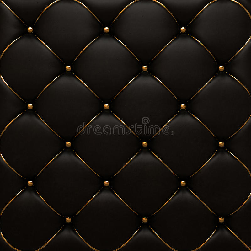 The gold leather texture of the quilted skin royalty free stock photos