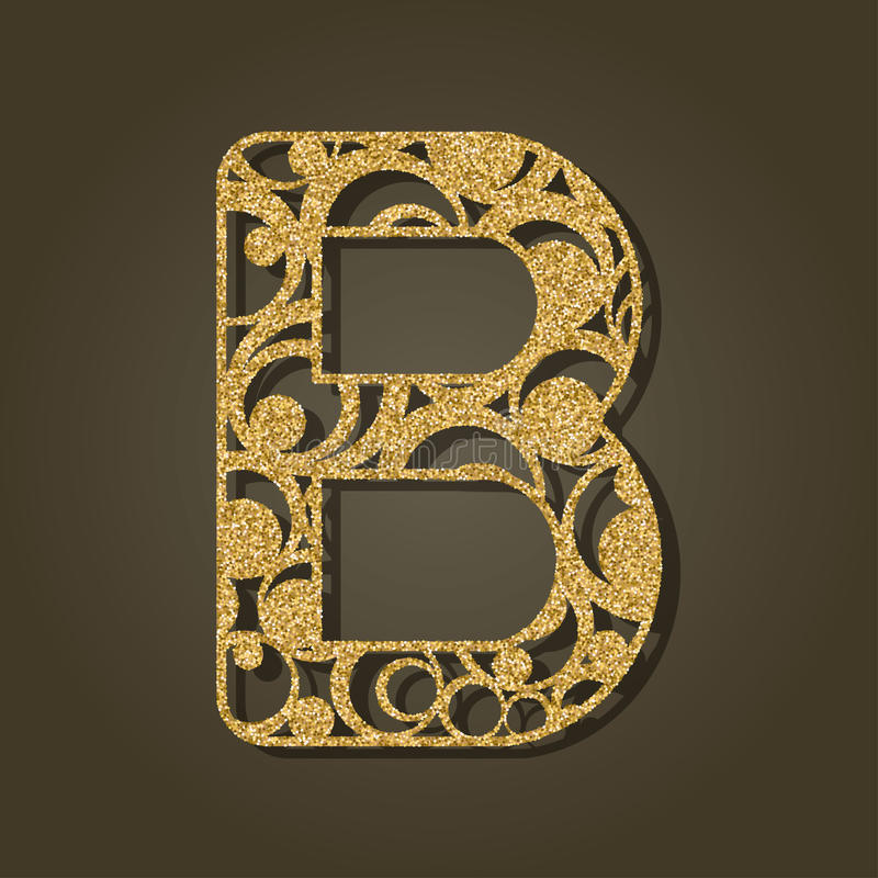 Gold letter B for laser cutting. English alphabet. royalty free illustration