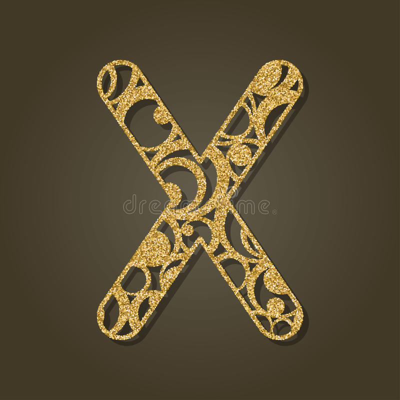 Gold letter X for laser cutting. English alphabet. vector illustration