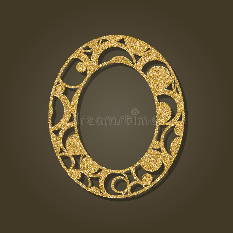 Gold letter O for laser cutting. English alphabet. Vector illustration. royalty free illustration