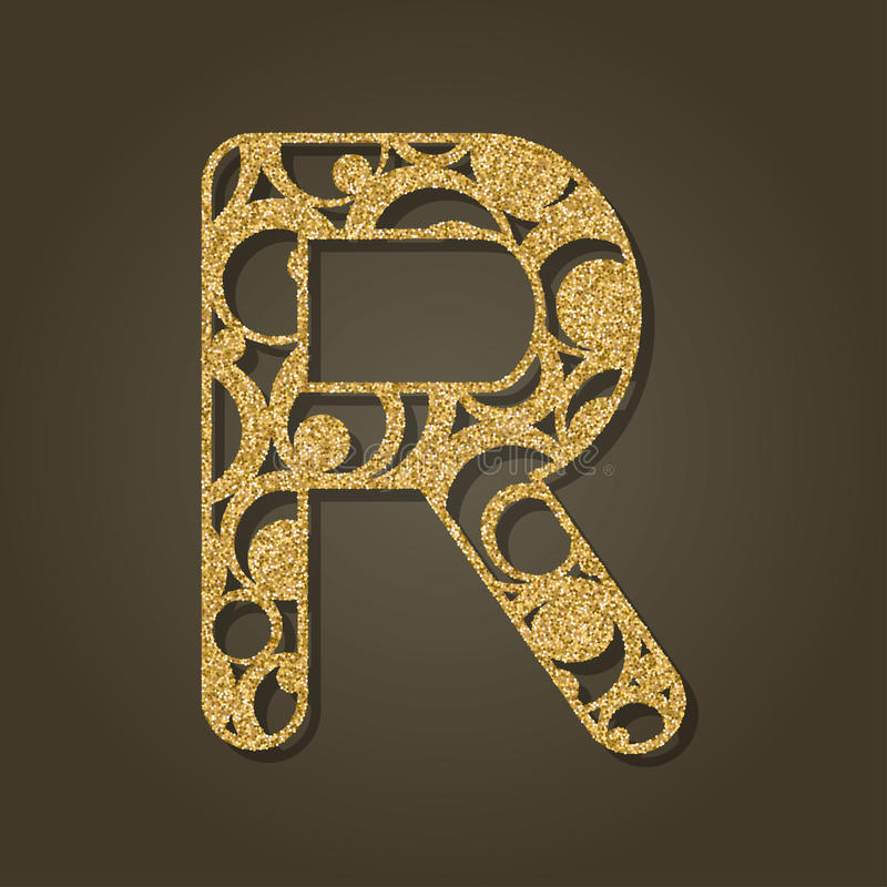 Gold Letter R For Laser Cutting English Alphabet Stock Vector