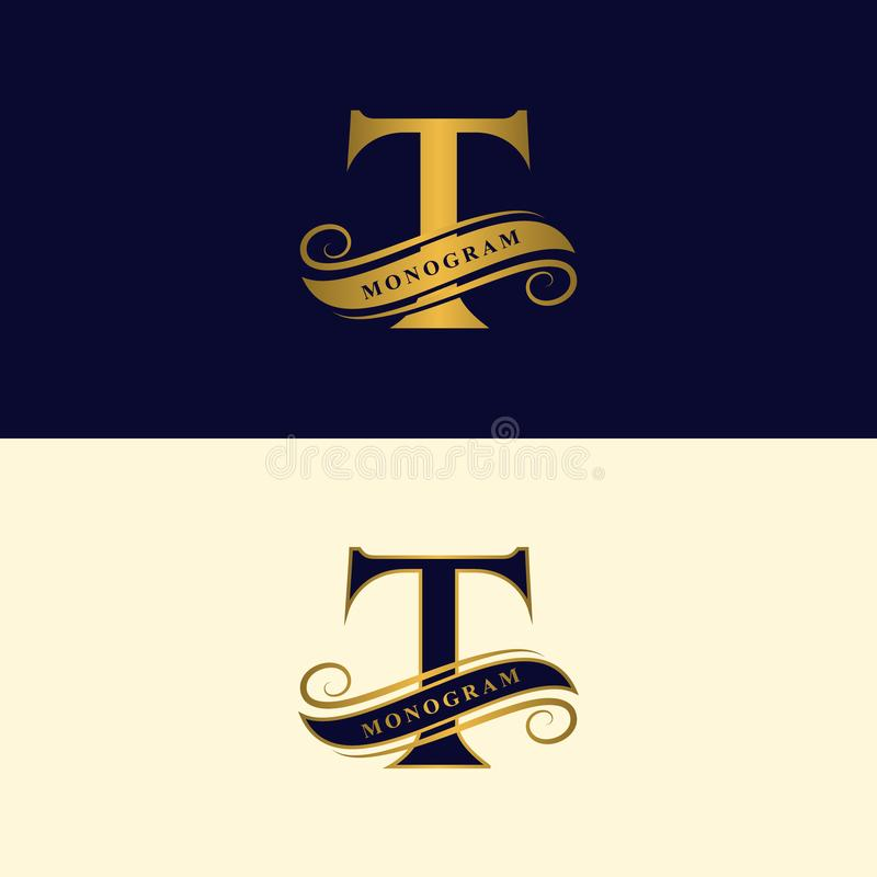 Gold letter T. Calligraphic beautiful logo with tape for labels. Graceful style. Vintage drawn emblem for book design, brand name,. Business card, Restaurant royalty free illustration