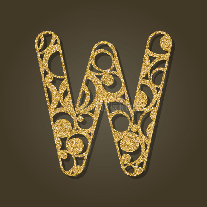 Gold letter W for laser cutting. English alphabet. stock illustration