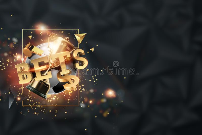 Gold Lettering Bets against soccer ball and dark background. Bets, sports betting, watch sports and bet. 3D design, 3D. Illustration vector illustration