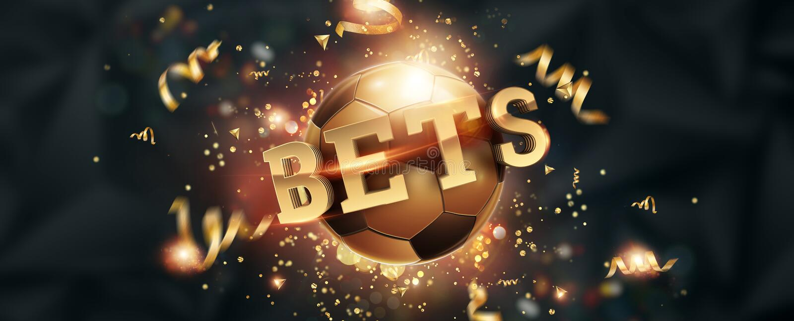 Gold Lettering Bets against soccer ball and dark background. Bets, sports betting, watch sports and bet. Flyer, design, layout. 3D. Design, 3D illustration stock illustration