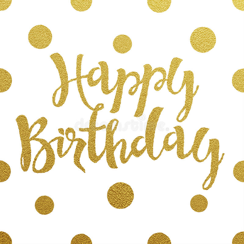 Gold lettering design for card Happy Birthday royalty free illustration