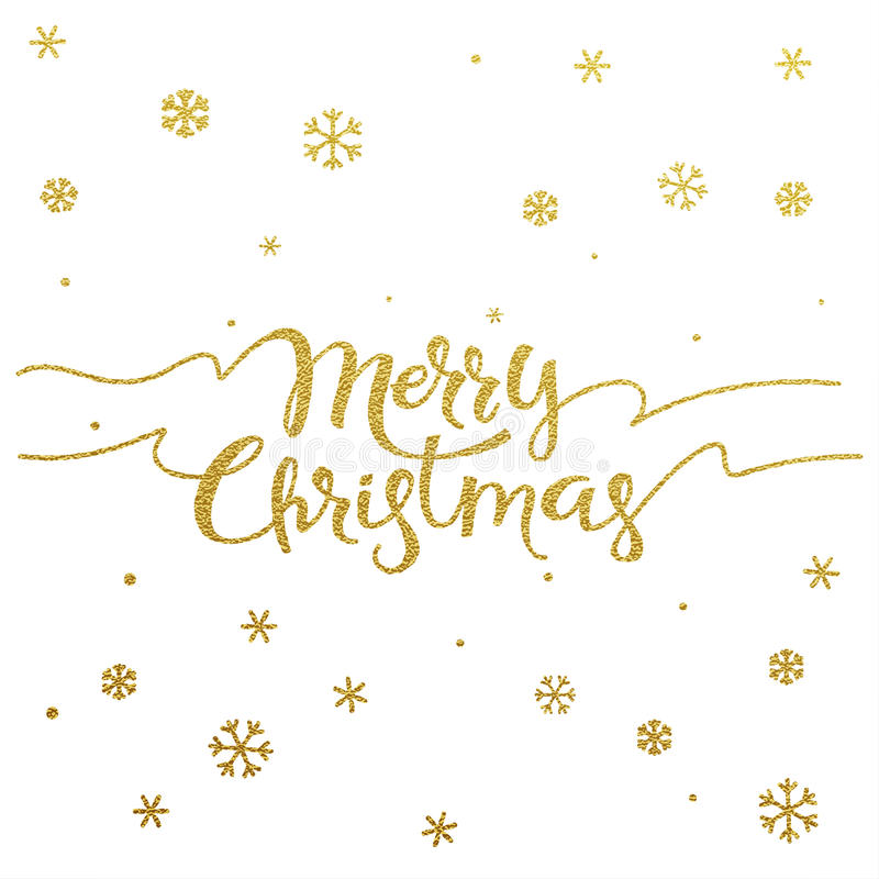 Gold lettering design for card Merry Christmas stock photography