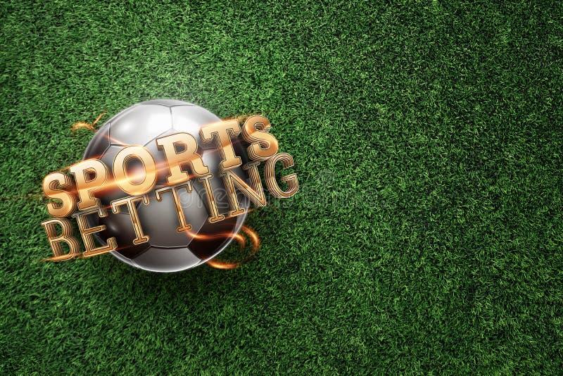 Gold Lettering Sports Betting op de achtergrond van een voetbal en groen gras Sportweddenschappen, sportweddenschappen, horlogesp royalty-vrije stock foto's