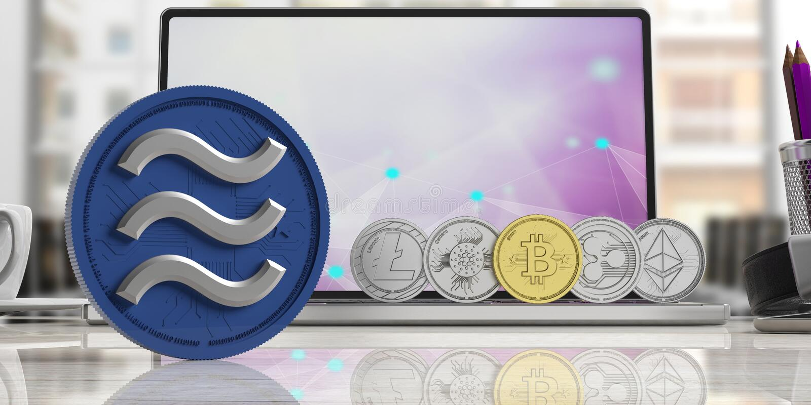 Gold Libra and cryptocurrency coins, on a computer laptop. 3d illustration vector illustration
