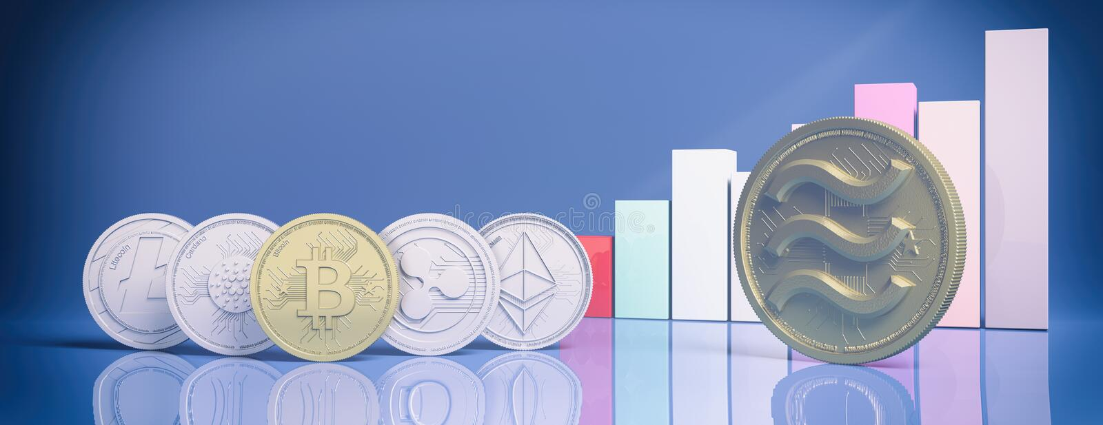 Gold Libra and cryptocurrency coins, growing bars chart, blue color background. 3d illustration vector illustration