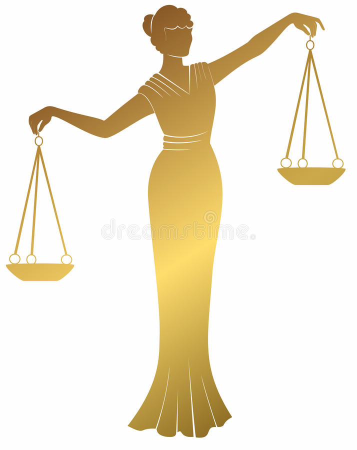 Gold libra lady justic. Equality balance right fair trial . stock illustration