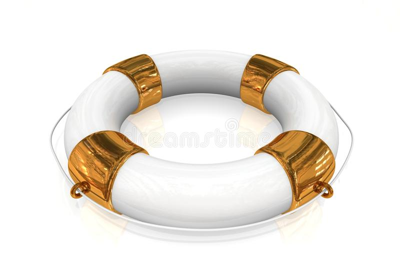 Gold life buoy stock illustration