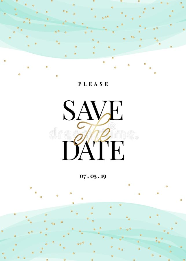 Gold and Light Blue Save the Date Card Template stock illustration