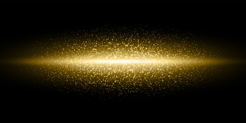 Gold light flash glitter dust particles burst background, Vector golden shimmer flares glow line, magic glittering sparkles. Gold light flash, glitter dust vector illustration