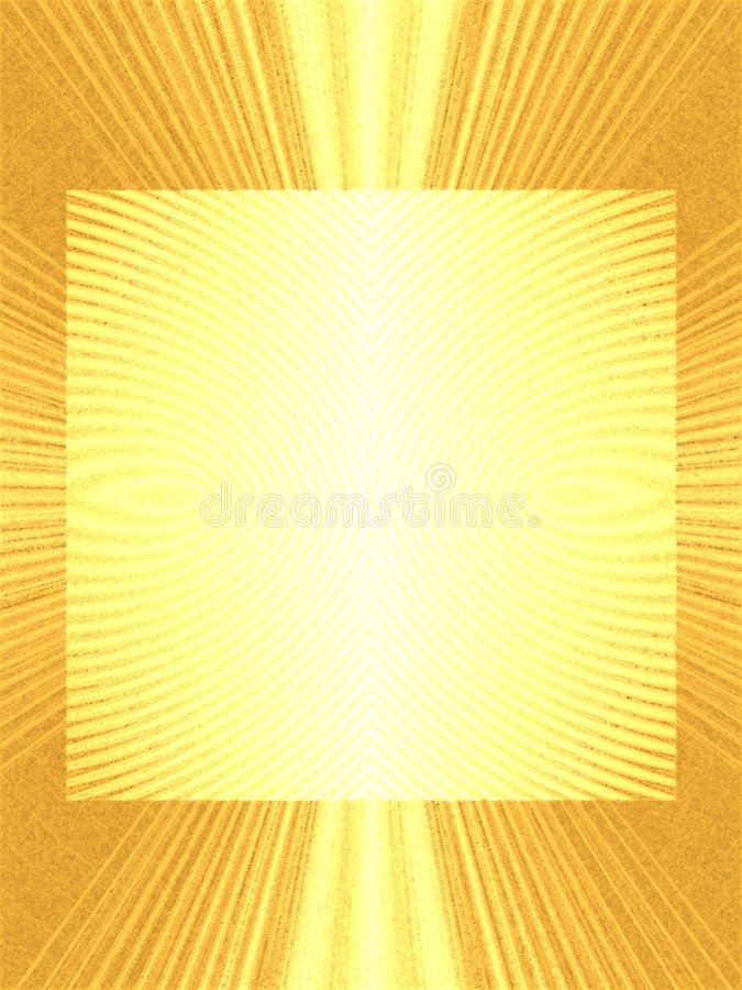 Gold Lightrays Photo Frame. A frame, background or border with texture and gradient colors in gold and yellow royalty free stock photography