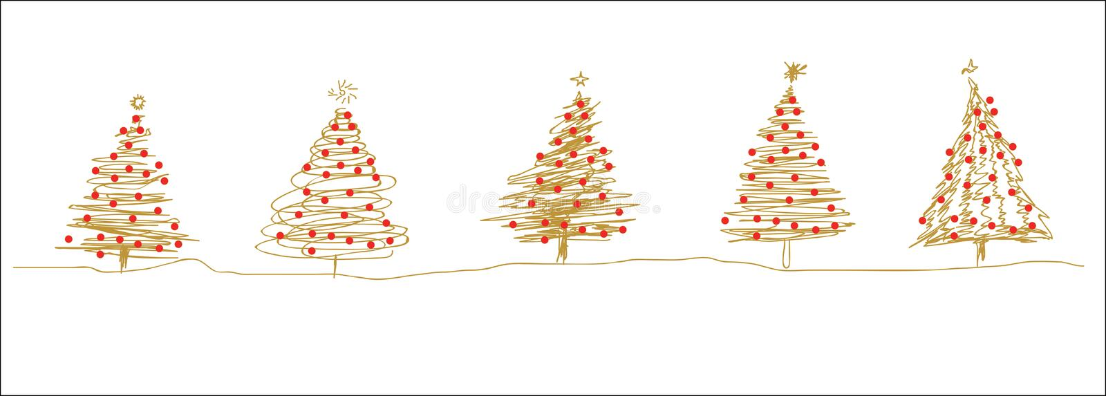 Gold red christmas tree line sketches in a row vector illustration