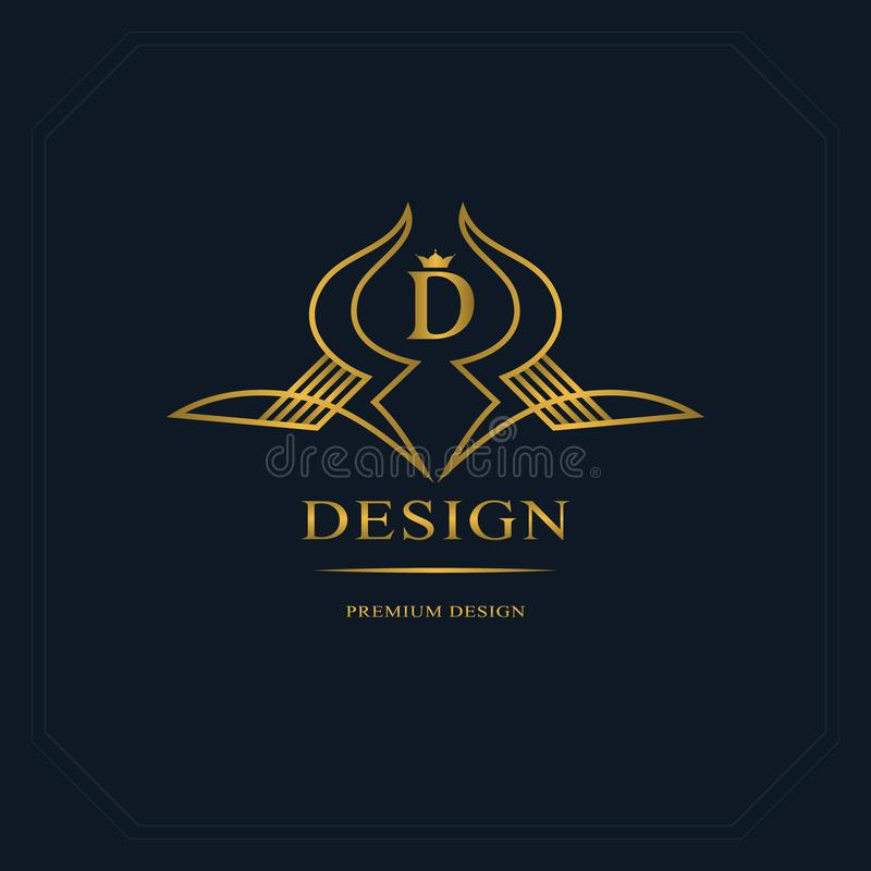 Gold Line graphics monogram. Elegant art logo design. Letter D. Graceful template. Business sign, identity for Restaurant, Royalty stock illustration