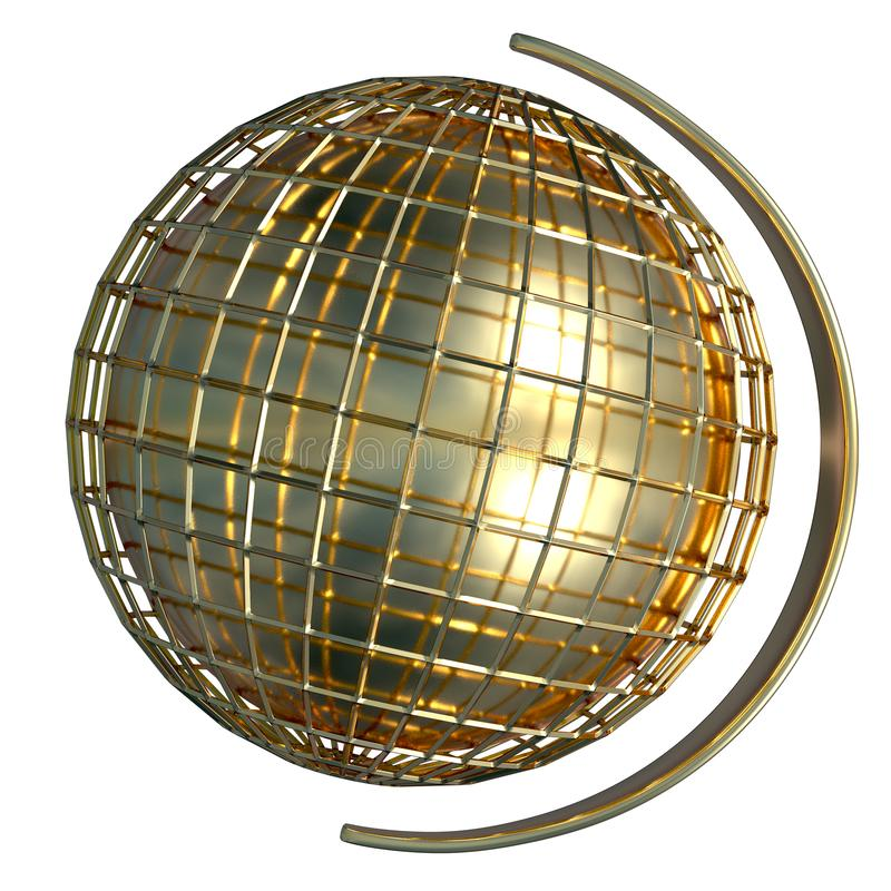 Gold lined globe with a holder on a side. Isolated 3D render. royalty free illustration