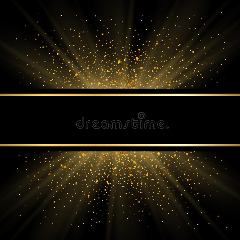 Gold lines on black background. Golden glow sparkle effect. Shine bright frame. Light magic effect design. Abstract royalty free illustration