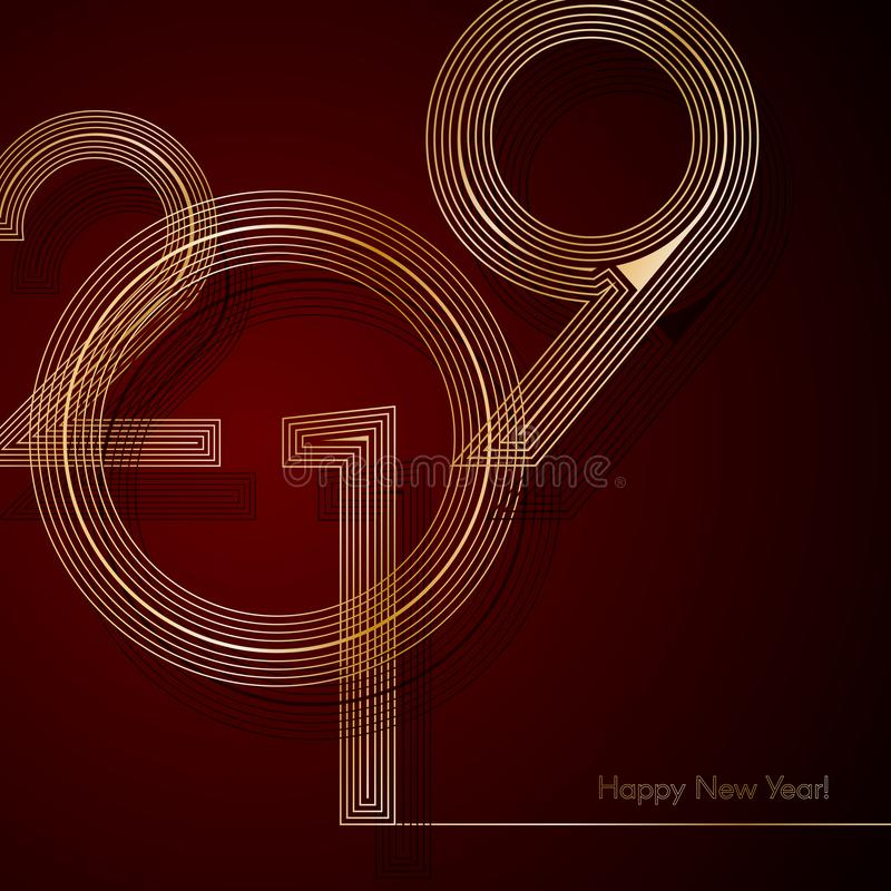 Gold lines 2019 New Year on a dark red background Creative element for design luxury cards invitations party for the New Year 2019 vector illustration