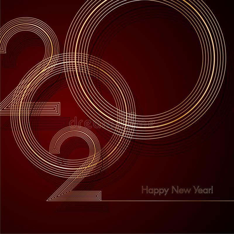 2020 Gold lines 2020 New Year on a dark red background Creative element for design luxury cards invitations party for the New Year stock illustration