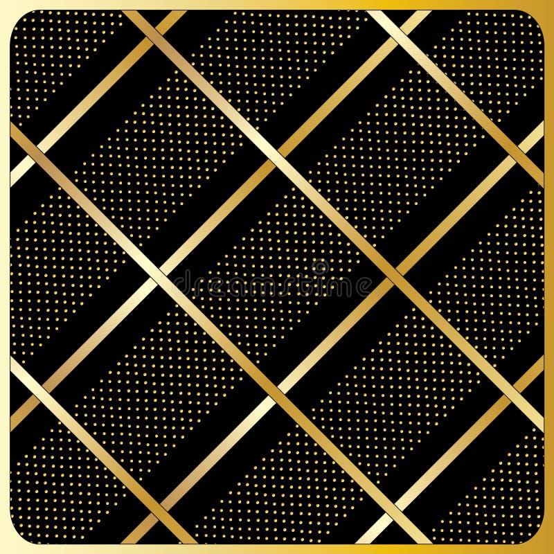 Gold lines, polka dots, Black Background. Gold diagonal stripes pattern, Black Background. Seamless modern pattern of the gold diagonal stripes on a black royalty free illustration