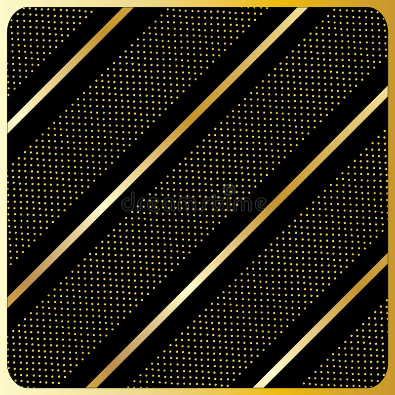 Gold lines, polka dots, Black Background. Gold diagonal stripes pattern, Black Background. Seamless modern pattern of the gold diagonal stripes on a black vector illustration