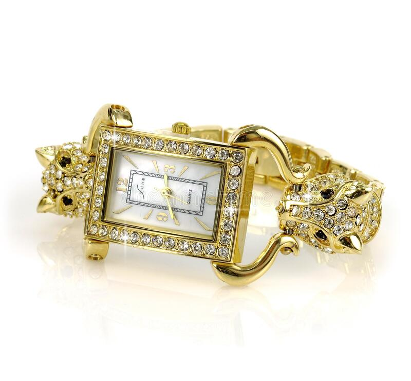 Gold Link Diamond Studded Analog Watch royalty free stock image