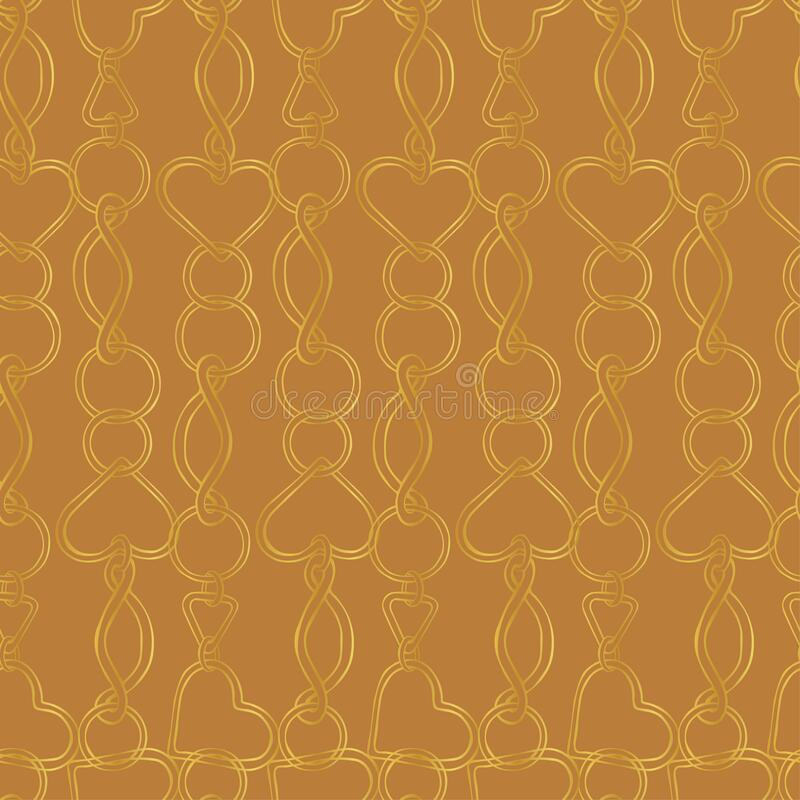 Gold linked chains on a brown background. Beautiful metal vertical chains. Chain links in the form of hearts and circles on a golden brown background. Seamless stock illustration