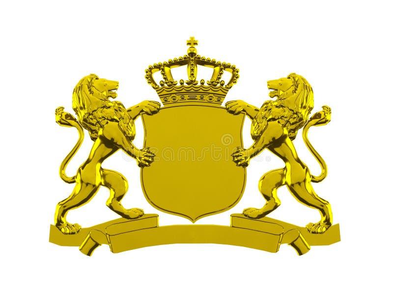 Gold lion crest banner stock illustration