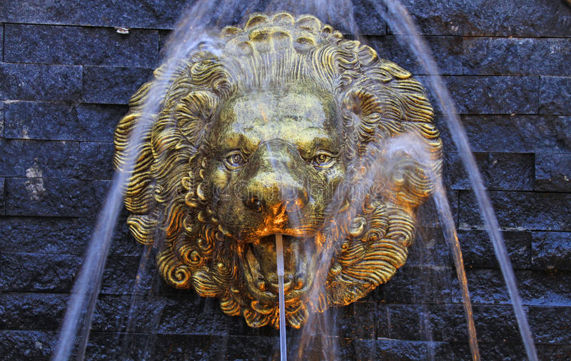 Gold lion fountain royalty free stock image