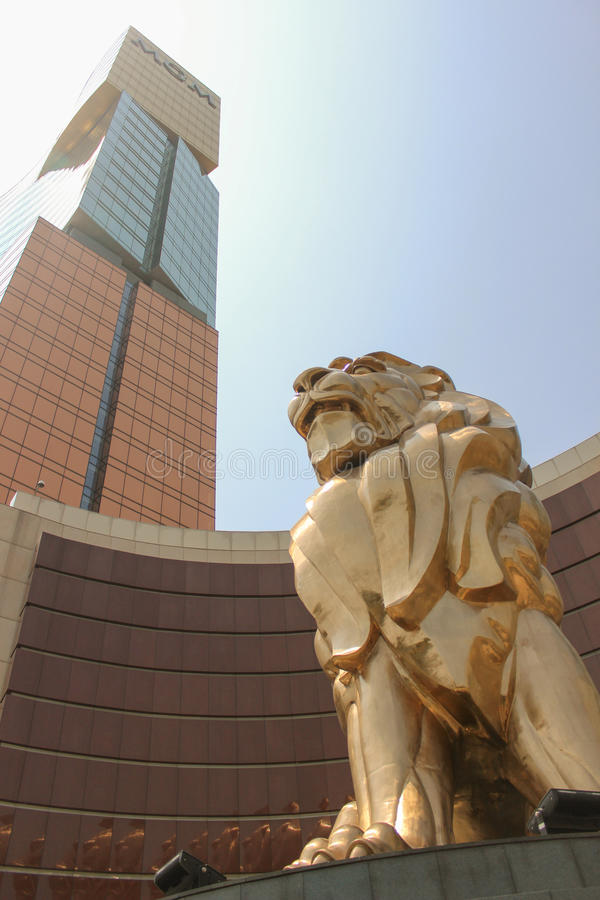Gold lion near MGM casino stock images