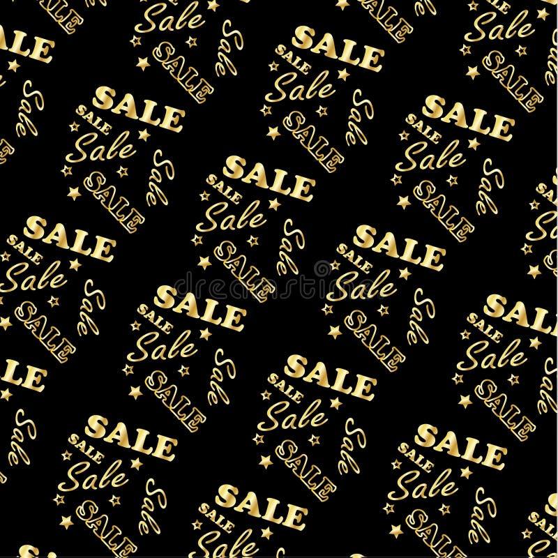 Gold logo Sale pattern, Vector. Gold logo Sale, pattern on Black background. Vector file. Gold logo Sale, different shapes, diagonal composition. For creating stock illustration