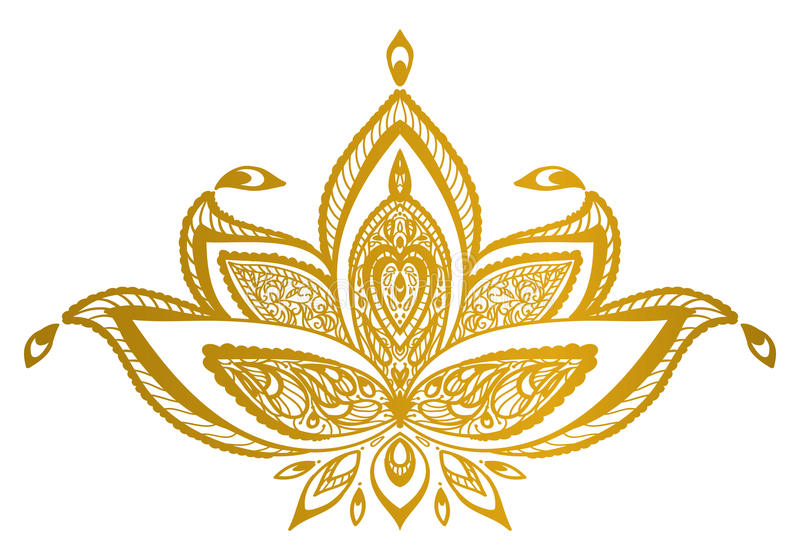 Gold lotus border mandala. stock image