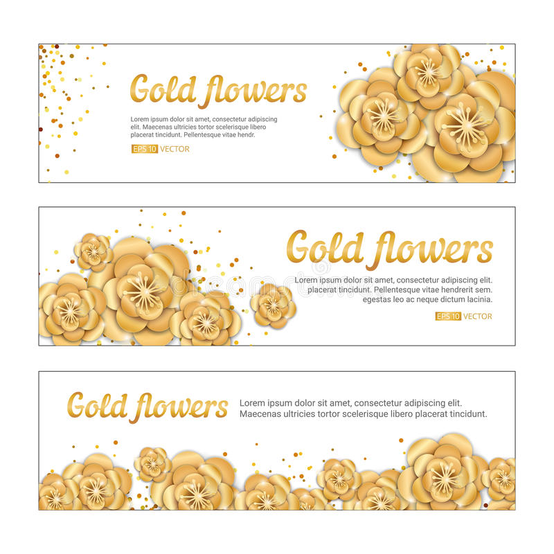 Gold lotus flower banner. Spring flower golden banners background. Paper art flowers template for banners, birthday, wedding. Invitation , party, event royalty free illustration