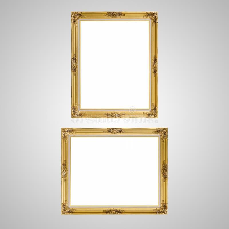 Gold louise photo frame over white background stock image