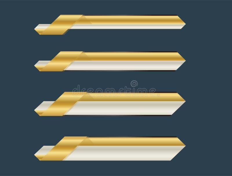 Gold lower third banner stock illustration