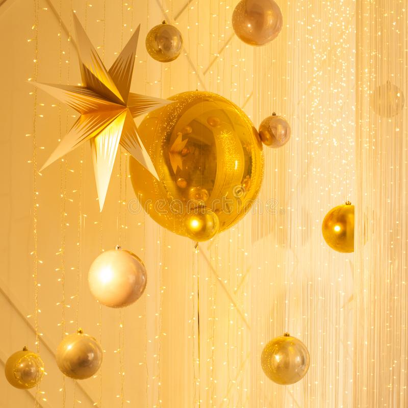 Gold luxurious background with glitter decorations stock photography