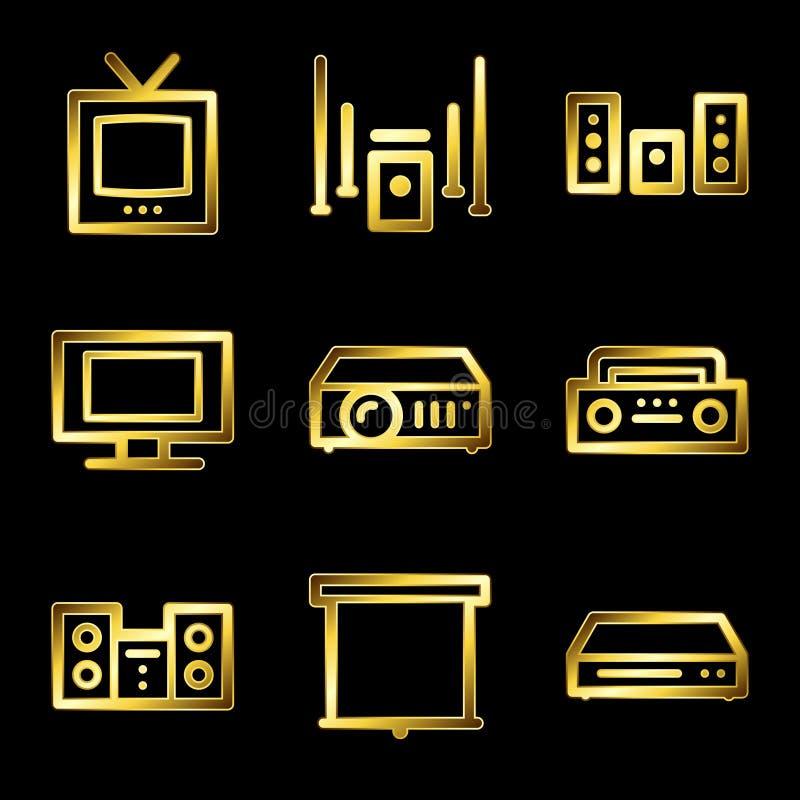 Gold luxury audio video web icons stock illustration