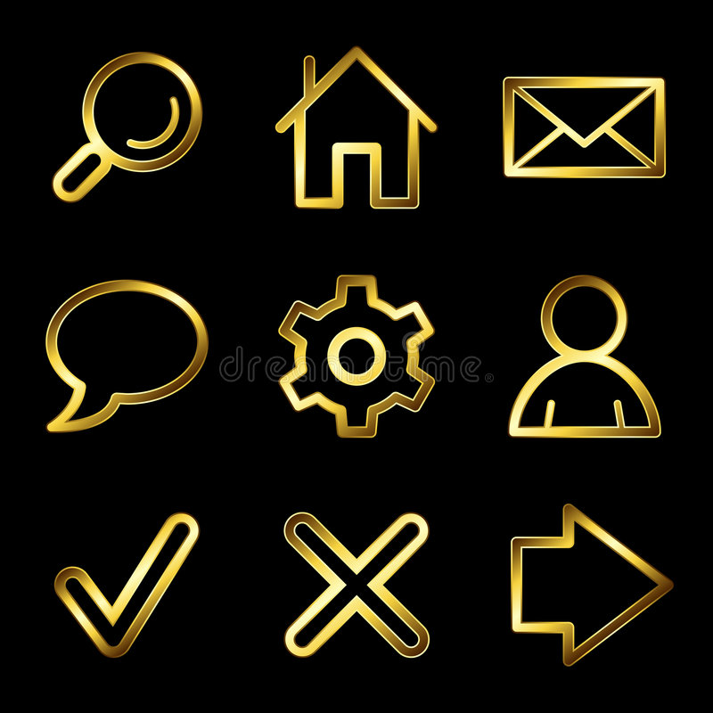 Gold luxury basic web icons V2 vector illustration