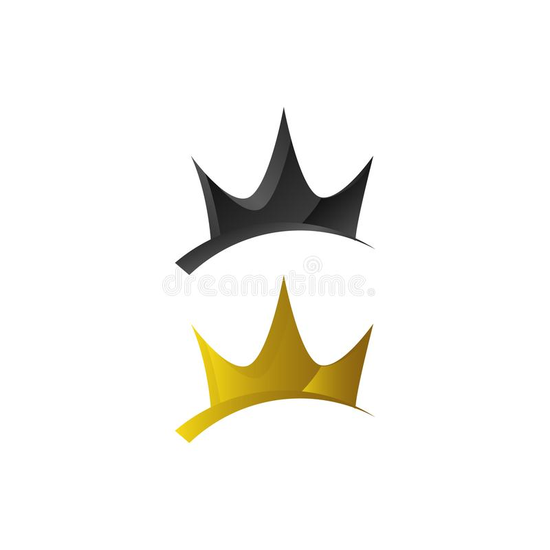 gold luxury Crown Logo Vector Royal King Queen abstract design icon symbol stock illustration