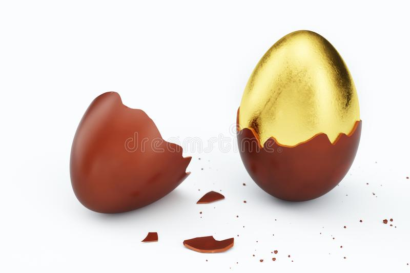 Gold luxury egg and chocolate easter egg. Broken, cracked chocolate egg. Sweet chocolate eggs, holiday and easter symbol. 3D illustration stock illustration